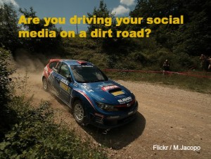 Sports car (social media) driving on dirt road (old website)