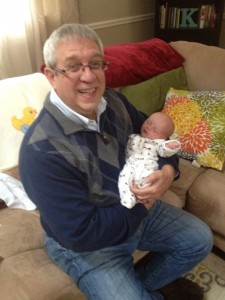 New grandfather Mark Whittaker with grandson