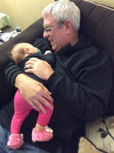 New grandfather Mark Whittaker with granddaughter
